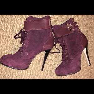 OFFICE PLATFORM PURPLE ANKLE BOOTIES NEW SZ 39